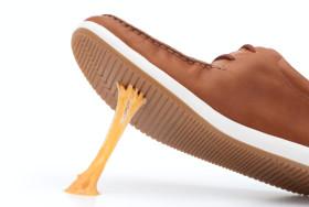 shoe stuck in gum
